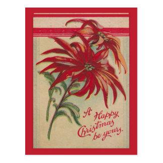 Vintages Weihnachten, rote Poinsettias und Grüße Postkarte