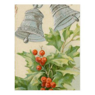 Vintages Weihnachten silberne Bell u. Stechpalme Postkarte