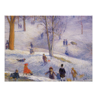 Vintages Weihnachten, Sledding, Central Park Poster
