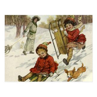 Vintages Weihnachten, viktorianische Kinder, die Postkarte