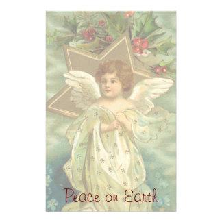 Vintages Weihnachten, viktorianischer Engel mit Briefpapier