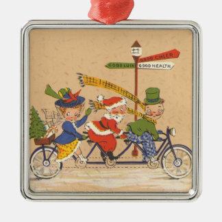 Vintages Weihnachten, Weihnachtsmann, der Fahrrad Quadratisches Silberfarbenes Ornament