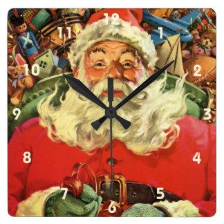 Vintages Weihnachten, Weihnachtsmann im Sleigh mit Quadratische Wanduhr