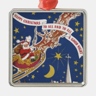 Vintages Weihnachten Weihnachtsmann mit Quadratisches Silberfarbenes Ornament