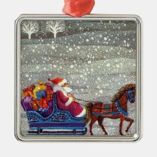 Vintages Weihnachten, Weihnachtsmann-Pferdeoffener Quadratisches Silberfarbenes Ornament