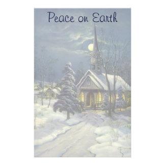 Vintages Weihnachten, Winter-Kirche im Schnee mit Briefpapier