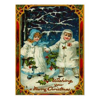 Vintages Weihnachten wünscht Postkarte