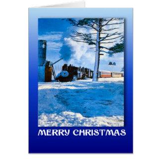 Vintages Weihnachten, Zug durch den Schnee Karte