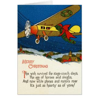 Vintages Weihnachtsflugzeug Karte