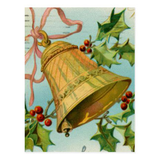Vintages Weihnachtsgold Bell Postkarte