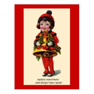 Vintages Weihnachtsmädchen Postkarte