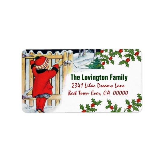 Vintages Weihnachtsmädchen und -stechpalme Adressetikett