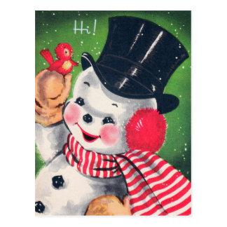 Vintages Weihnachtsretro Snowman Postkarte