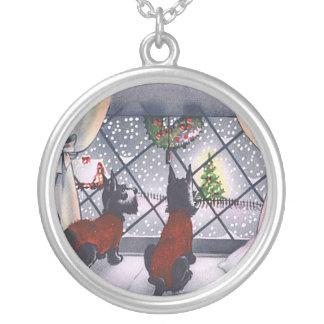 Vintages Weihnachtsschottische Terrier-Welpen Versilberte Kette