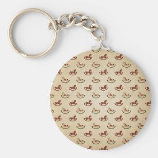 Vintages Weihnachtsschwingpferdemuster Schlüsselanhänger