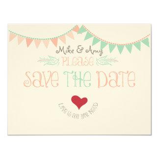 Vintages wunderliches Save the Date mit dem Kopfe 10,8 X 14 Cm Einladungskarte