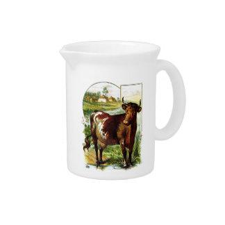 Vintages Zeichnen: Tiefrote Kuh Getränke Krug
