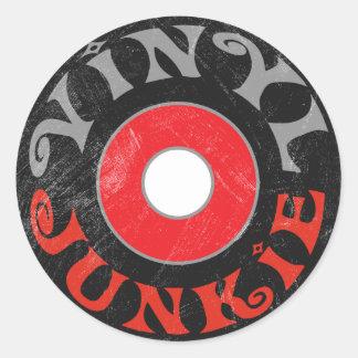 Vinyljunkie Runder Aufkleber