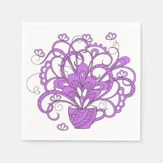 violet bouquet in the cup papierserviette