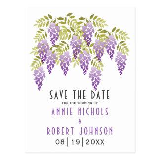 Violetter Wisteriafrühling, der Save the Date Postkarte