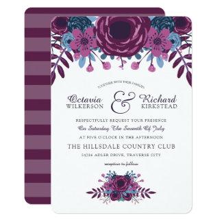 Violettes Aquarell-Blumenhochzeits-Einladung 12,7 X 17,8 Cm Einladungskarte