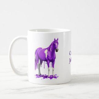 Violettes lila Bratenfett-nasses Farben-Pferd Kaffeetasse