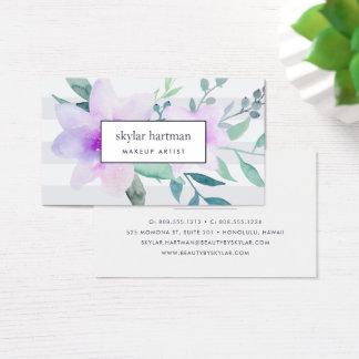 Violettes u. weises Aquarell mit Blumen Visitenkarte