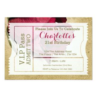 VIP führen Party-Aufnahme-Karten-Rote Rose 12,7 X 17,8 Cm Einladungskarte