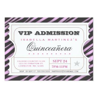 Vip-KarteZebra bezauberndes Quinceanera 12,7 X 17,8 Cm Einladungskarte