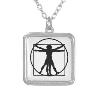 Vitruvian Mann Halskette Mit Quadratischem Anhänger