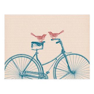 Vögel auf einem Fahrrad Postkarte