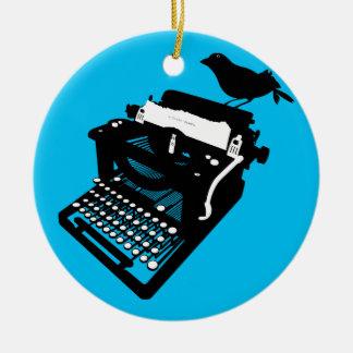 Vogel auf einer Schreibmaschinen-Verzierung Rundes Keramik Ornament