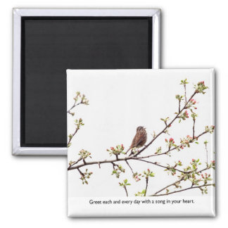 Vogel, der ein glückliches Lied singt Quadratischer Magnet