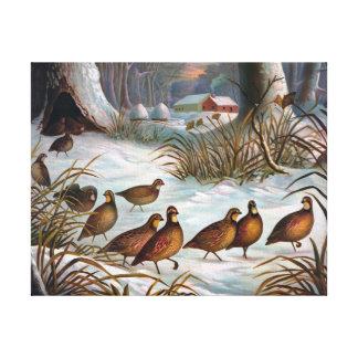 Vögel in der Schnee-Vintagen Malerei Leinwand Druck