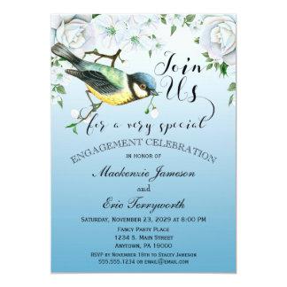 Vogel-Natur-Verlobungs-Einladungs-blaues Blumen Karte