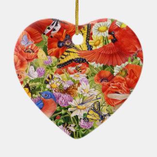 Vogel-, Schmetterlings-und Bienen-Herz-Verzierung Keramik Ornament