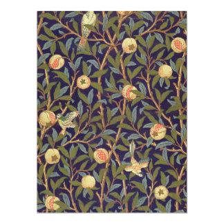 Vogel-und Granatapfel-Vintage Kunst Williams 16,5 X 22,2 Cm Einladungskarte