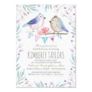 Vögel und rosa Blumen-WaldBrautparty 12,7 X 17,8 Cm Einladungskarte