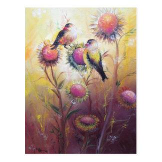 Vögel und Sonnenblume-Postkarte Postkarte
