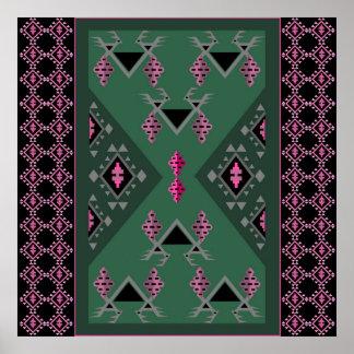 Vögel und Trauben grün und rosa kilim Muster Poster