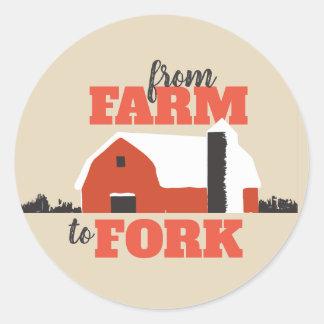 Vom Bauernhof, zum zu gabeln roter Runder Aufkleber