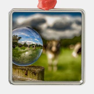 Von Gras zu Glas Quadratisches Silberfarbenes Ornament