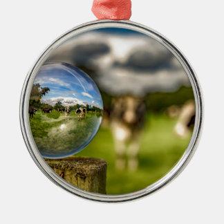 Von Gras zu Glas Rundes Silberfarbenes Ornament