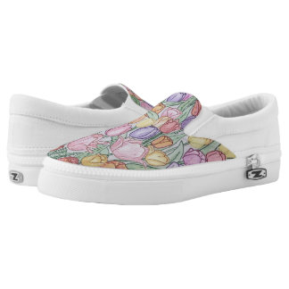 Von Hand gezeichnete Tulpe-Turnschuhe Slip-On Sneaker