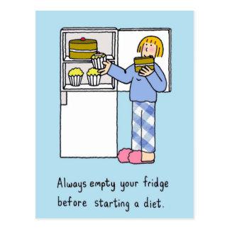 Vor dem Beginnen einer Diät leeren Sie Ihren Postkarte