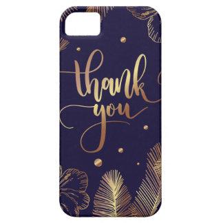 Vorbereitet danke Typografie mit goldenen Federn iPhone 5 Etui