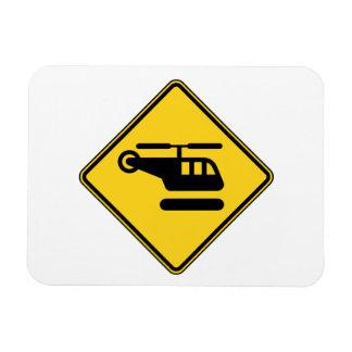 Vorsicht-Hubschrauber-Zeichen Magnet