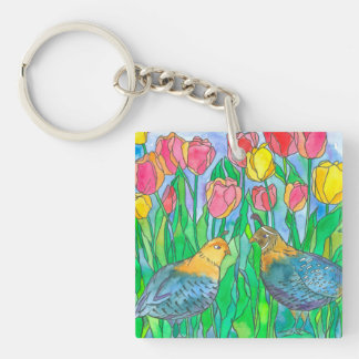 Wachtel-Vogel-Aquarell-Malerei Schlüsselanhänger