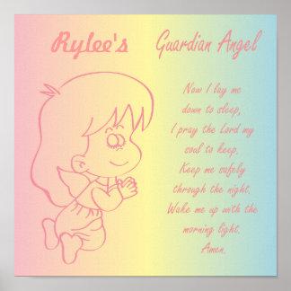 Wächter-Engels-Mädchen-Abends-Gebet Poster
