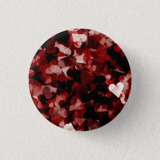 Wahre Liebe-rotes Herz-Gefühl mit schwarzer rosa Runder Button 2,5 Cm